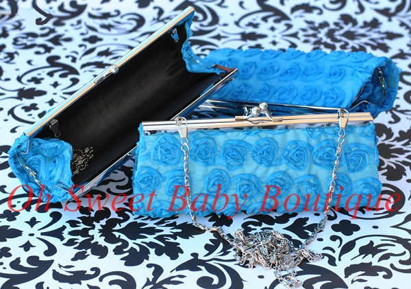Rosette Clutch Turquoise