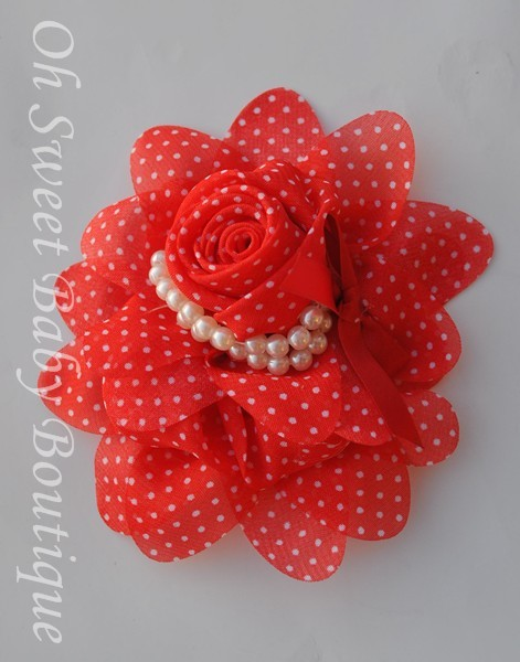 Red / White Chiffon Pearl