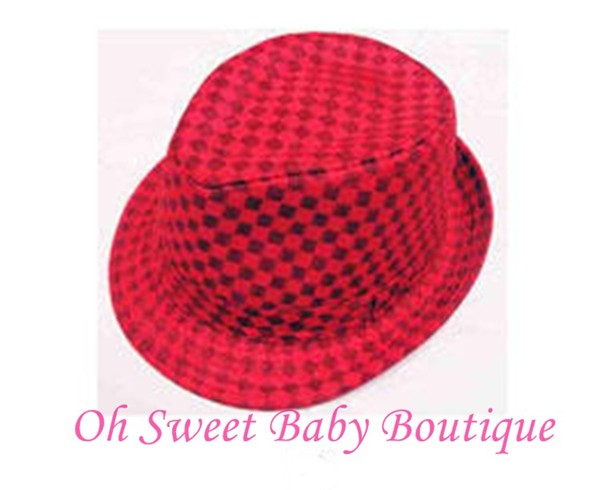 Red / Black Checkered Fedora