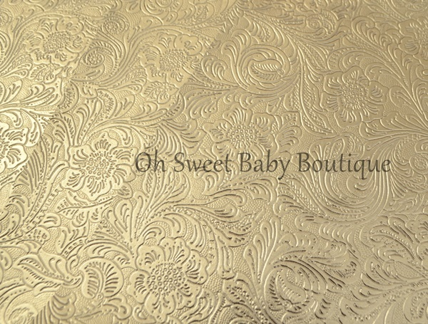 Gold Chrome Metallic Western Floral