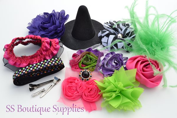 Hot Pink Witch Hat and Headband Kit 4""
