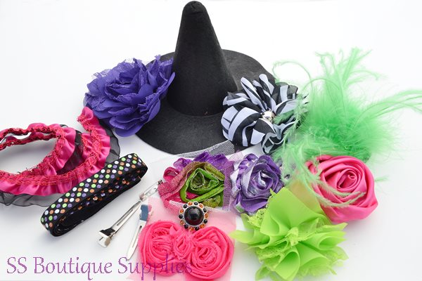 Hot Pink Witch Hat and Headband Kit 6""