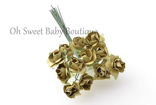 1/2 Paper Flower Olive