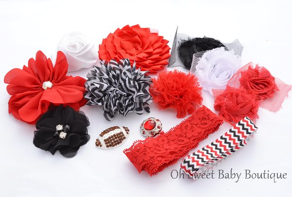 Red White and Black Footbal Headband Kit